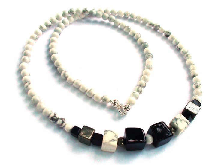 Mens Necklaces – Mens Necklace - Howlite, Onyx, 925 sterling silver – a unique product by OlgaJewelryBoutique on DaWanda