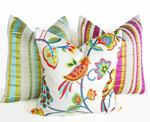 Throw Pillows Bright Colors : Whimsical Bird Pillows, Bright Vivid Cushion Covers, Colorful Throw Pillows, Eclectic, Parrots ...