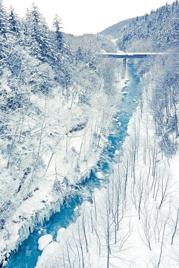 Frozen blue river, Biei, Hokkaido, Japan
