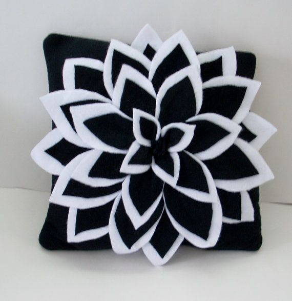 Black and white dahlia flower pillow by Fleeceofnature on Etsy, $28.00