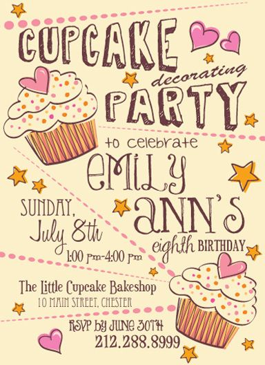 party invitations cupcake party by carin r - Cupcake Decorating Party