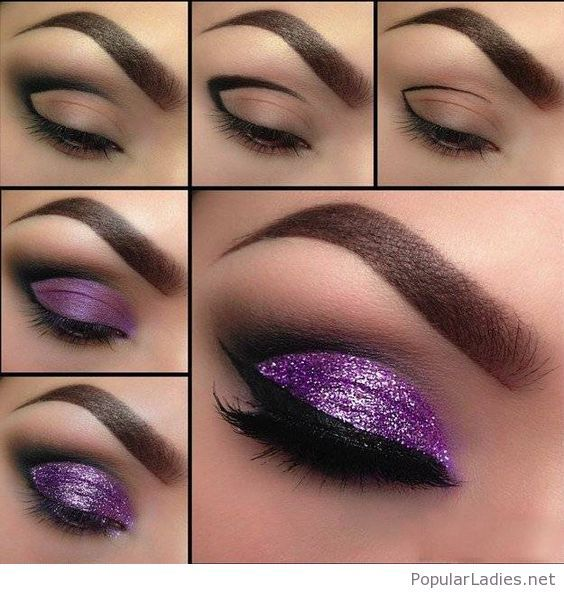 amazing-black-and-purple-glitter-eye-makeup-tutorial
