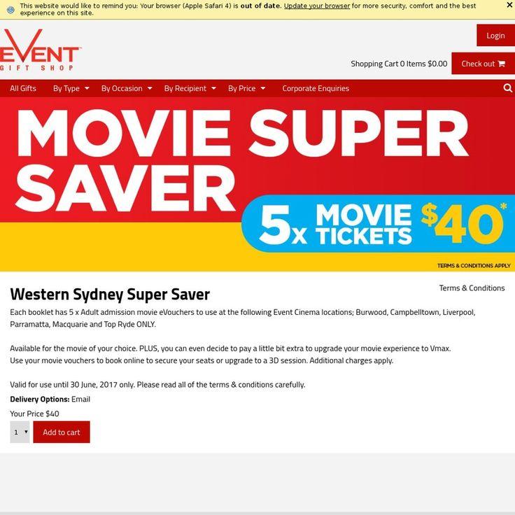 Event Cinemas At Westfield Parramatta: 5x Adult Movie EVouchers $40 @ Event Cinemas: Valid In