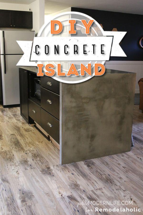 DIY Concrete Kitchen Island | Remodelaholic.com