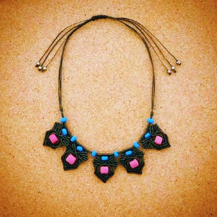 #flyingcoalahandmade #macrame #necklace #jewelry #handmade #hippie #beads #black #festival #summer #creations #insta #happy #sea #sun #crafts #fashion #ootd #blue #pink