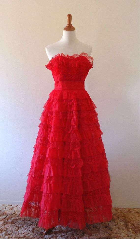 Vintage Prom Dress Red Lace Strapless by FaulknerHouseVintage, $195.00