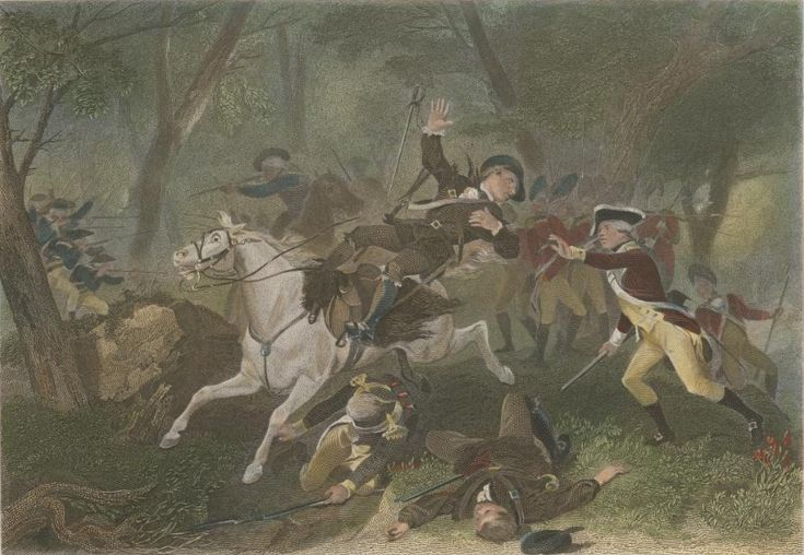 Engraving depicting the death of British Major Patrick Ferguson at the Battle of Kings Mountain during the American Revolutionary War, October 7, 1780. [Published 1863, From the Anne S. K. Brown Collection at Brown University; Alonzo Chappel, 1828-1887 (artist; Charles Henry Jeens, 1827-1879 (engraver); Virtue & Yorston (publisher)]