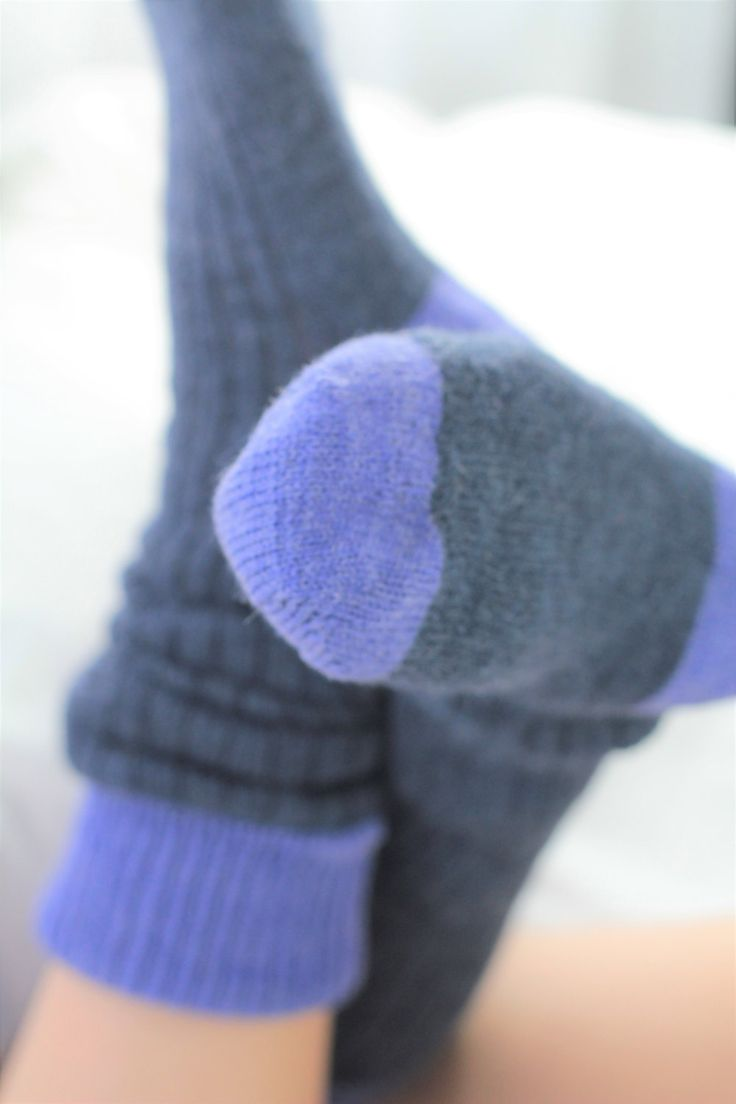 Hand Made Bed Socks WOOLBLEND- KNEE HIGH  hand cranked and finshed - bedsocks - perriwinkle purple and french navy - super soft and silky by footfetishsocks on Etsy