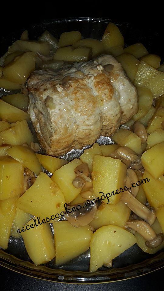 Pour réaliser un Rôti de porc aux pommes de terre/champignons, il vous faudra utiliser la cuisson rapide (2 fois) 20 minutes.