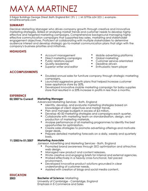 marketing manager cv example for marketing