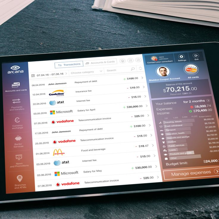 The future concept of online banking   transact page in ipad