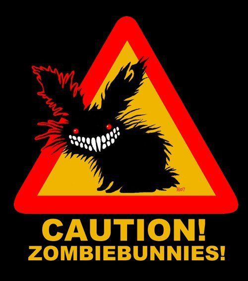 zombie bunnies....I want this as a sticker for my car :P