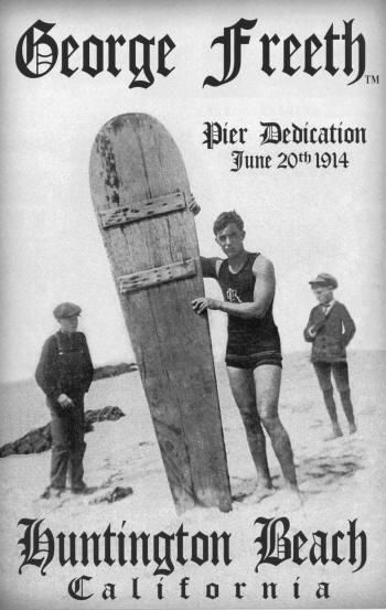 """""""Surf City USA"""".. In 1914, Henry Huntington, railroad magnate and real estate tycoon, invited Hawaiian waterman George Freeth to the opening celebration of the city's first concrete municipal pier. It was there that Freeth was asked to demonstrate his """"surf riding"""" skills and became the first surfer at the now famed Huntington Beach Pier. Huntington Beach still remains one of the most popular surf spots in the world."""