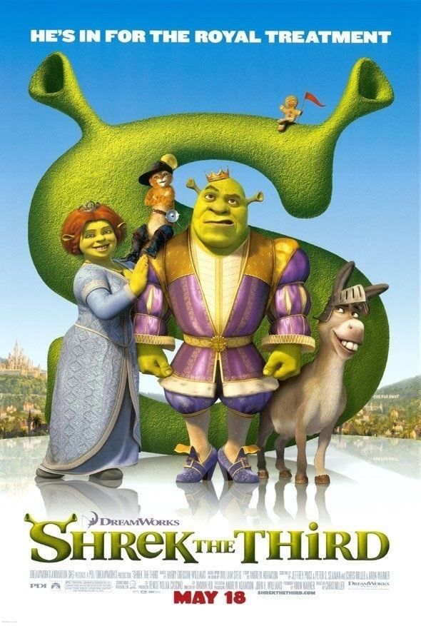 Details About Shrek The Third Movie Poster 2 Sided Original 27x40
