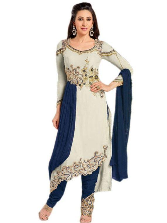 Magnific Beige and Blue Karishma Kapoor Designer salwaar suit