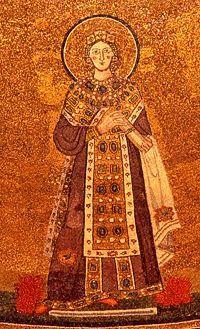 """Sant'Agnese, dettaglio del mosaico nell'abside della Basilica di  """"Sant' Agnese fuori le Mura"""", Roma"""