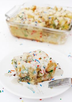 Overnight Funfetti Cake Batter French Toast Casserole {With Rainbow Chip Icing}