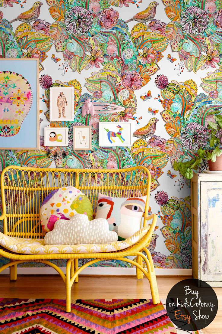 best 10 wall murals for kids ideas on pinterest murals for colorful mix wallpaper mandala style wall mural for kids rooms and nurseries birds and leaves wall decal reusable removable 118