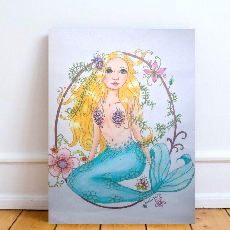 Mermaid print, mermaid nursery. Every girls room needs a mermaid print! Visit Lumisadesign for more  mermaid nursery prints, mermaid postcards and mermaids totes!