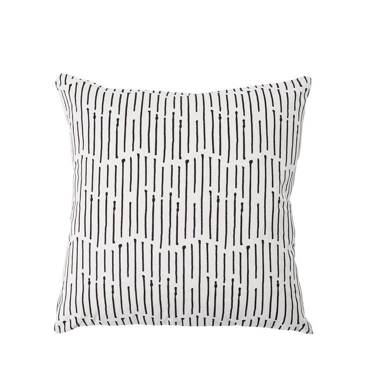 Black Ink Stripe Large Pillow