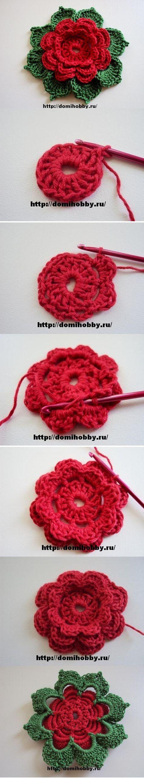 Paso a paso Flor en Crochet Ganchillo ༺✿ƬⱤღ✿༻