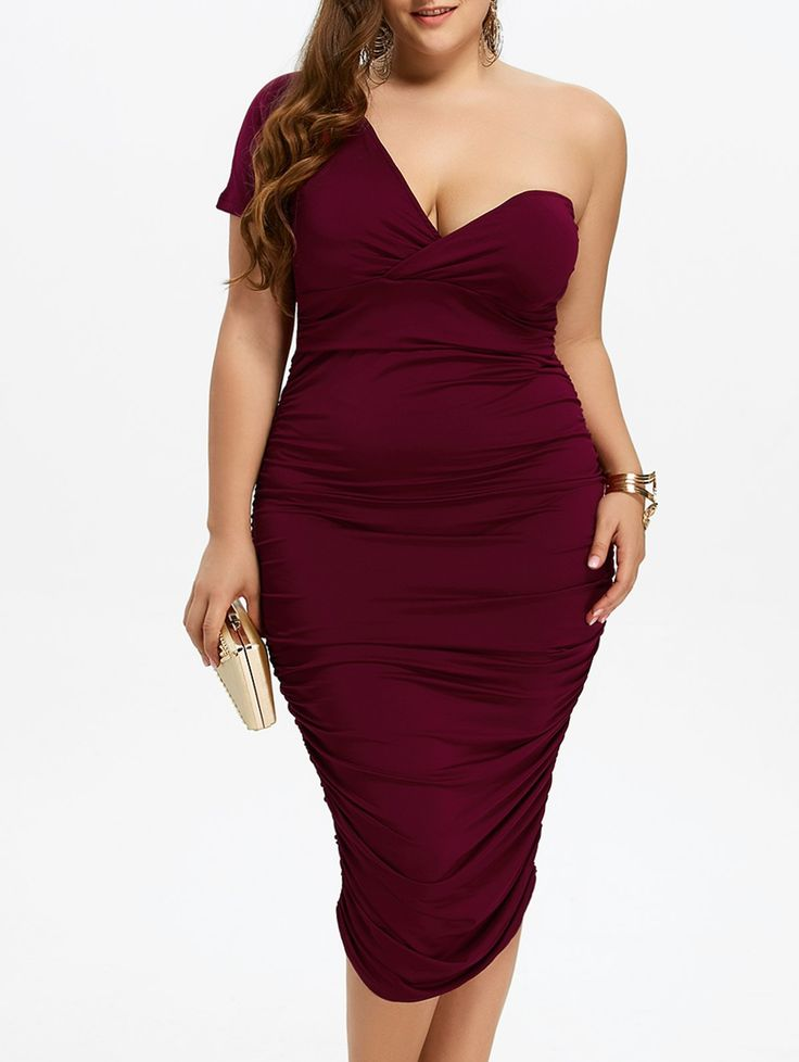 Plus Size Ruched One Shoulder Bodycon Dress in Wine Red | Sammydress.com