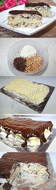 """Хорошая кухня - торт """"Воздушный"""" с орехами и шоколадом. Кулинарная книга рецептов. Салаты, выпечка."""