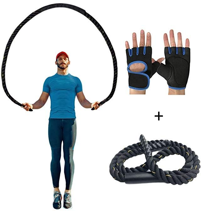 Autuwt Heavy Jump Rope Skipping Rope Workout Battle Ropes With Gloves For Men Women Total Body Workouts Power T Heavy Jump Rope Total Body Workout Battle Ropes