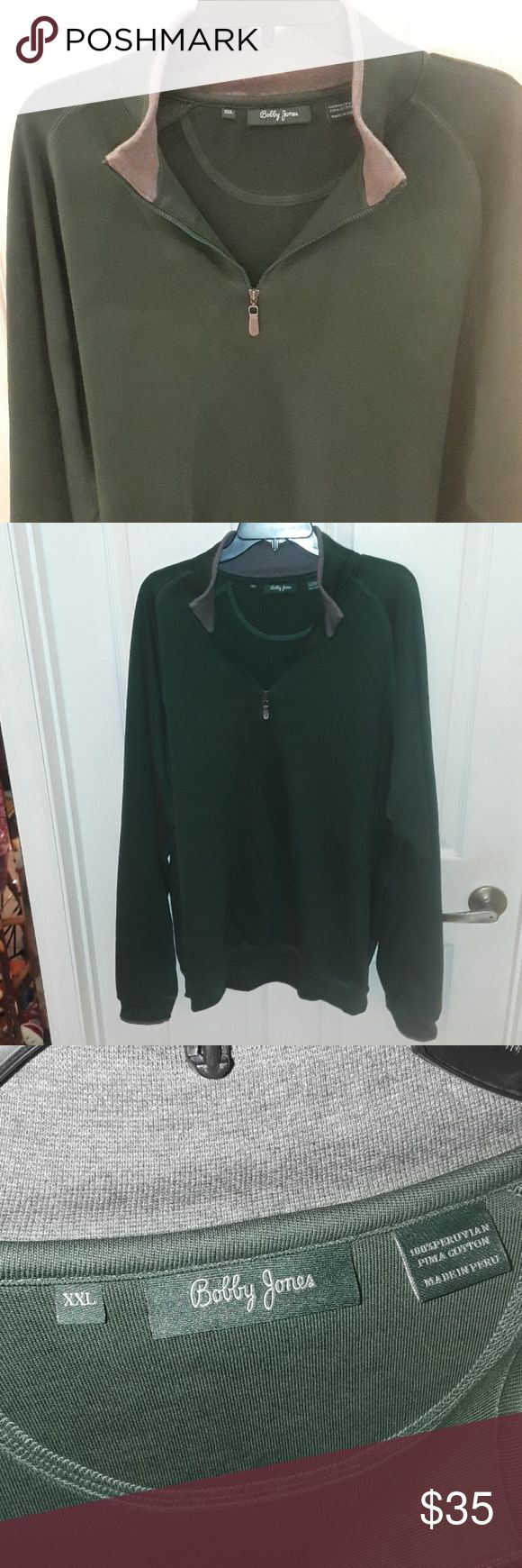 Bobby Jones  XXL half zip sweater Bobby Jones XXL half zip sweater, gently used condition no rips or stains. 100% Pima cotton, very nice soft cotton material. Great for golf fans, beautiful crafted sweater, great condition look at photos before purchasing, smoke-free home ask questions is all sales are final happy poshing. Bobby Jones Sweaters