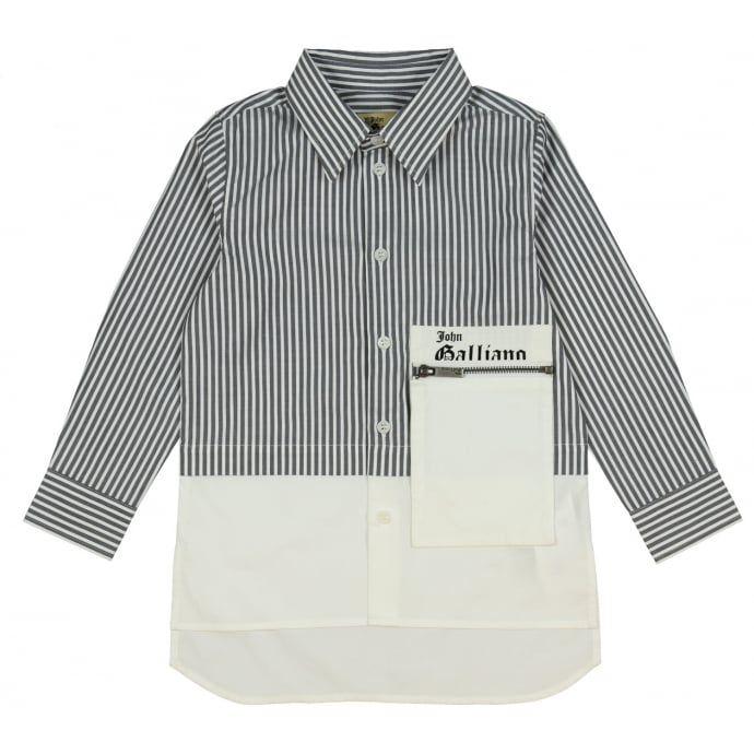 John Galliano Boys Grey Striped Shirt with Zip Pocket