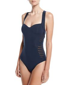 JETS by Jessika Allen Banded Side-Stripe One-Piece Swimsuit, Dark Blue