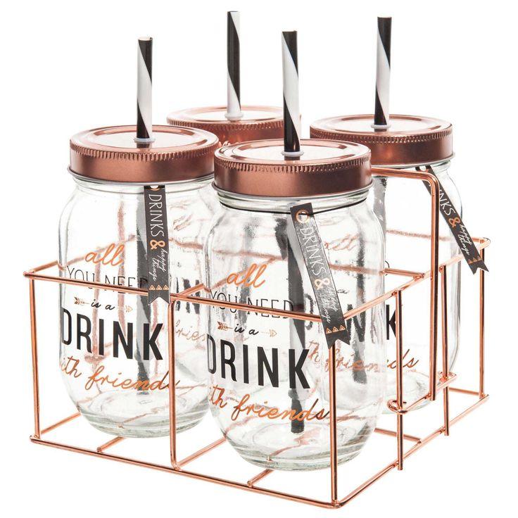 Set aus 4 Gläser mit Strohhalm + Metallständer
