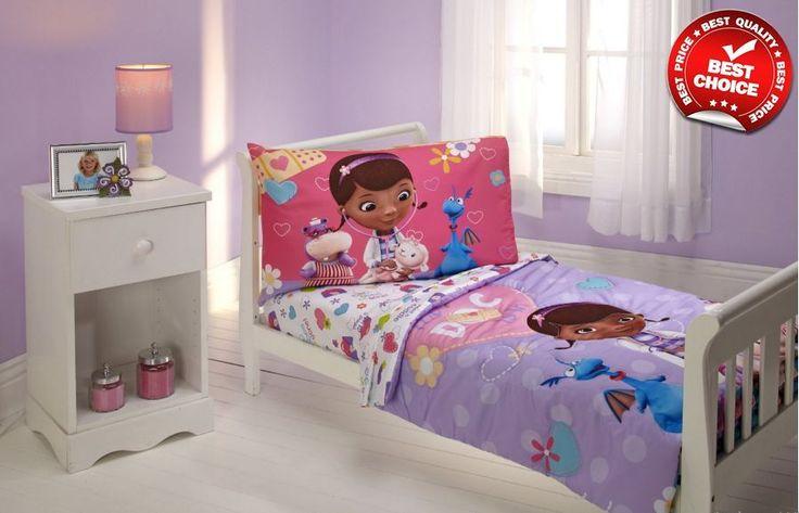 Disney Toddler Bedding Set Doc Mcstuffins Comforter Sheet Pillowcase 4PCS New #Disney