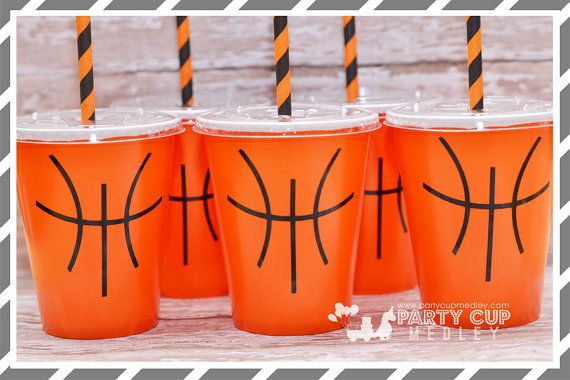 Basketball Birthday Party-Basketball-Party Cups by PartyCupMedley2