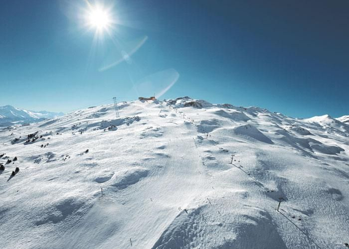 Have the mountain to yourself and enjoy a bluebird day in Laax! http://www.powderbyrne.com/ski/laax