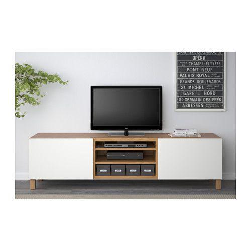 BESTÅ TV bench with drawers £141- oak effect/Lappviken white, drawer runner, soft-closing - IKEA