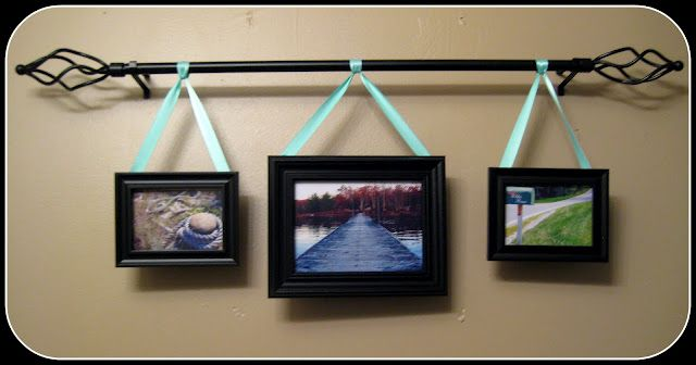hanging pictures: Display Photo On Curtains Rods, Challenges, Large Wall, Families Pictures, Hanging Pictures, Kids Bathroom, Crafts Rooms, Ribbons, Pictures Frames On Wall Ideas