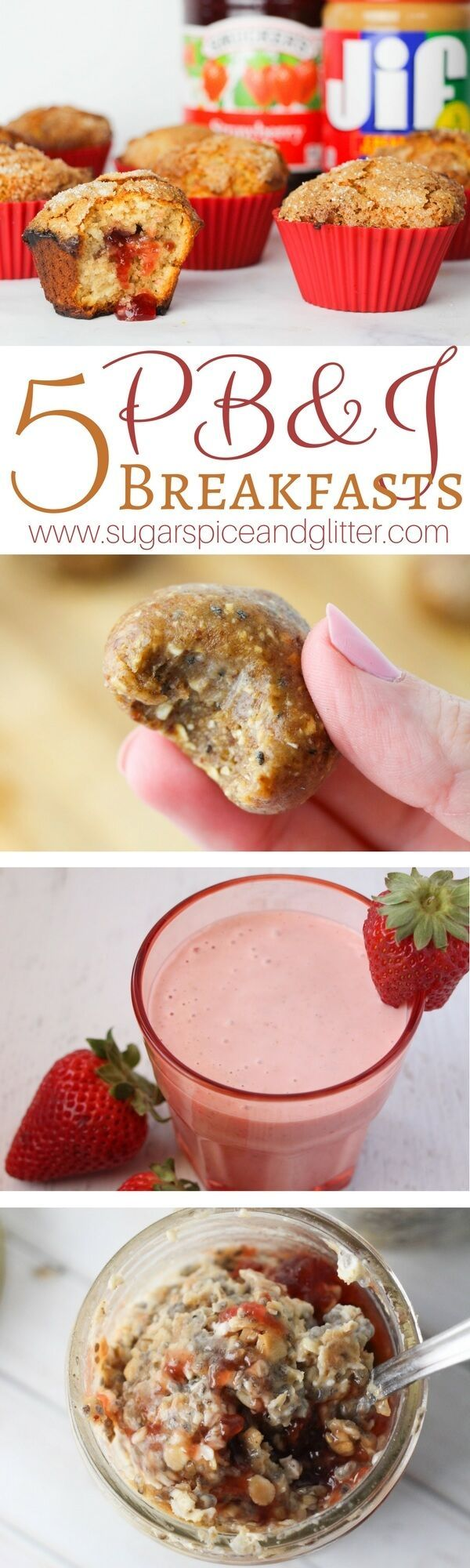 5 Delicious PB&J Breakfast Ideas that are quick, easy and can be taken on-the-go. PB&J Muffins, PB&J Energy Bites, PB&J Oatmeal Smoothie, PB&J French Toast Roll-ups and PB&J Overnight Oatmeal.
