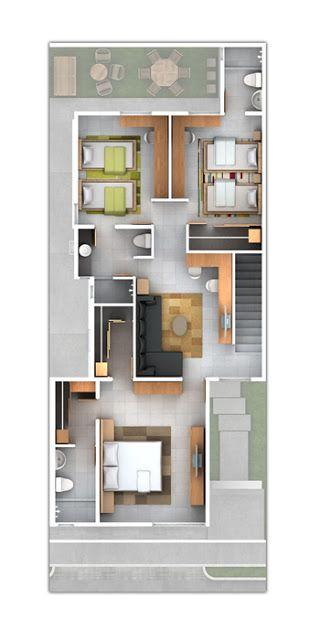 Planos de Casas y Plantas Arquitectónicas de Casas y Departamentos: Plano de residencia con cuarto de servicio
