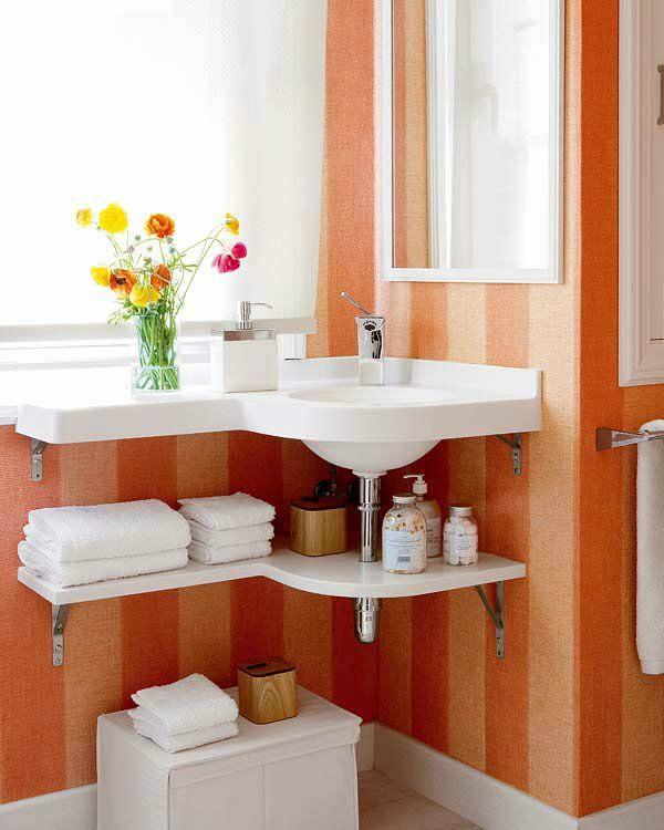 kleines badezimmer orange streifen eck waschbecken
