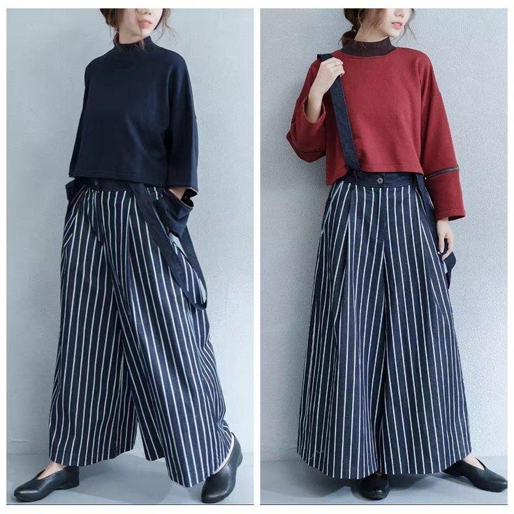 Stripe Casual Width Leg Cotton Overalls Women Pants 16013