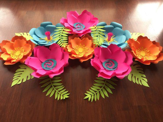 moana paper flowers    hawaii theme paper flowers   paper