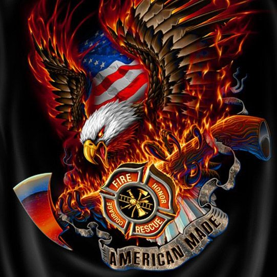 Firefighters American Made USA Patriotic Black Graphic Tee ...