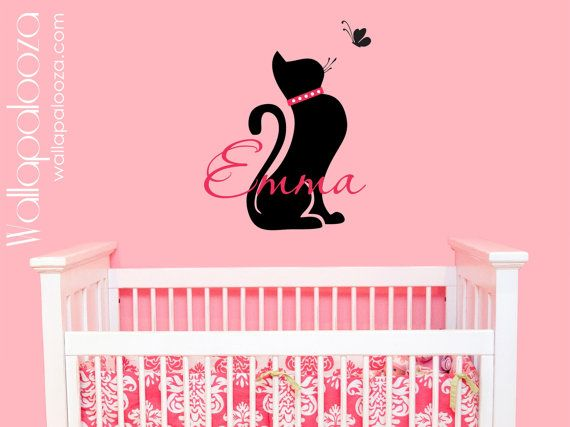 Cat wall decal  girls name wall decal  by WallapaloozaDecals, $25.00