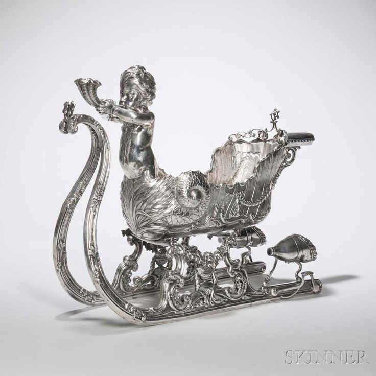 German .835 Silver Sleigh-form Centerpiece, Hanau, late 19th/early 20th century. | Lot 206 | Auction 2975B | Sold for $5,535