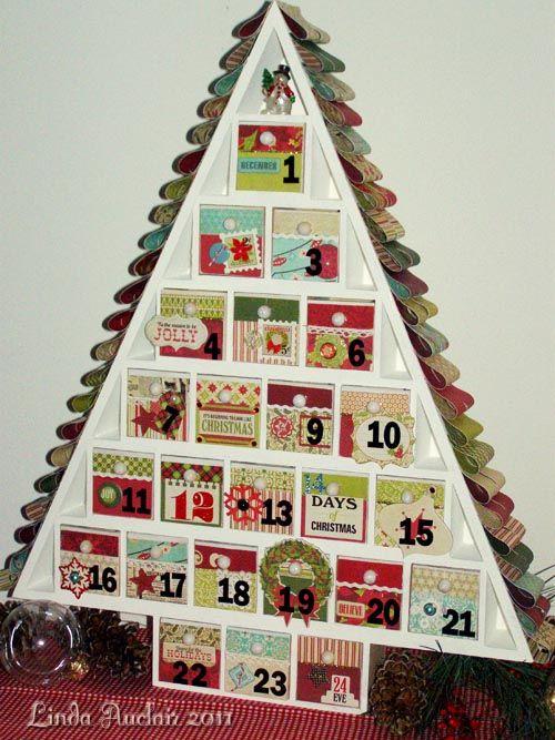 "advent calendar tree using @Lori Whitlock's Echo Park Paper collection, ""Season's Greetings""..."