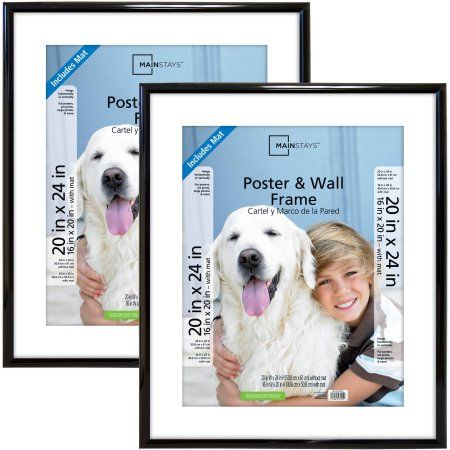 Mainstays 20 Inch X 24 Inch Matted To 16 Inch X 20 Inch Trendsetter Poster And Picture Frame Black Set Of 2 Size 20 Inch X 24 Inch Picture Frames Photo Picture Frames Large Picture Frames