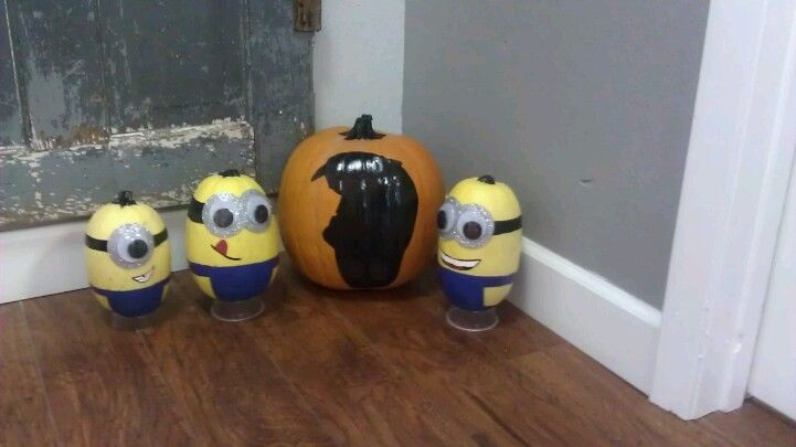 Gru pumpkin and minion squash Supplies: black, blue, wgite and red acrylic paint, paint brush, silver craft foam board, google eyes, gru silhouette (printed from online)