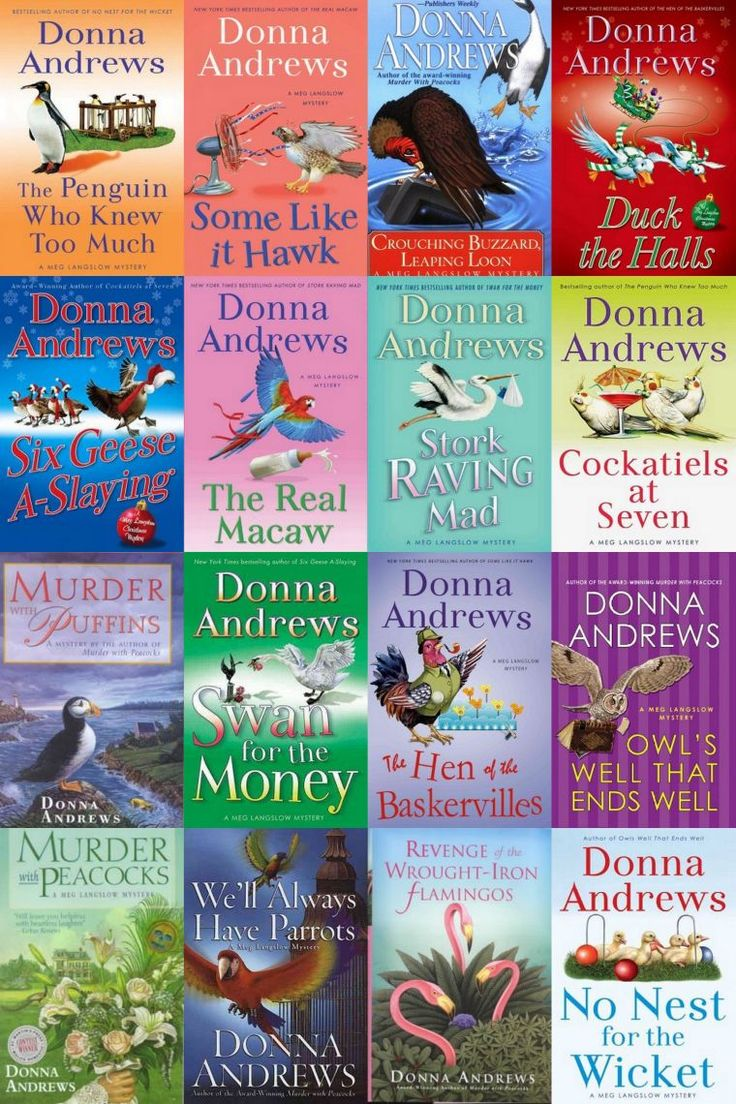 "Donna Andrew's ""Meg Langslow"" mystery series. Light murder mystery reads. These books are all cute, lite, quick reads. Great series."