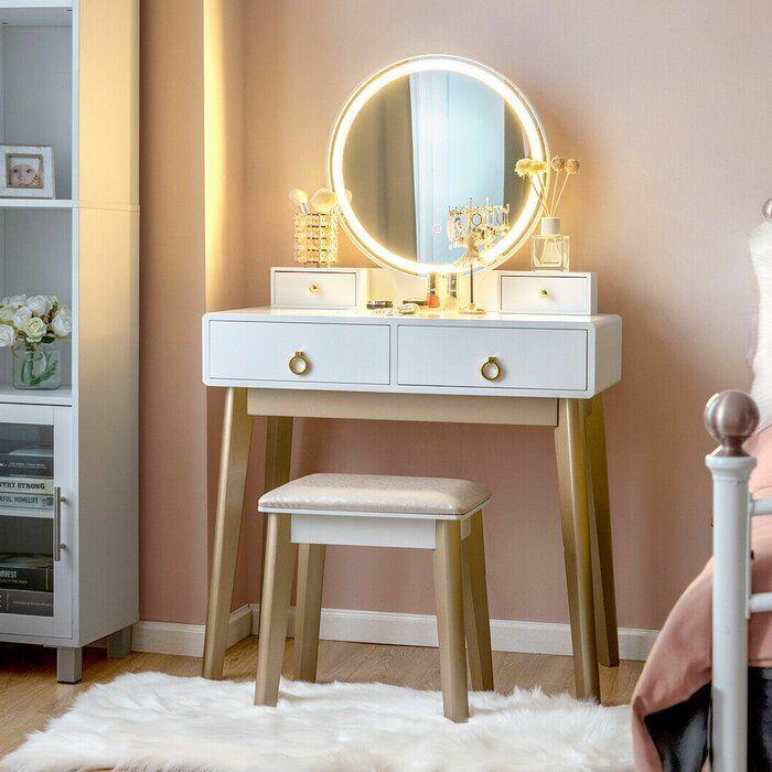 Dikomo Vanity Set With Stool And Mirror Vanity Table Set Bedroom Vanity Set Vanity Set